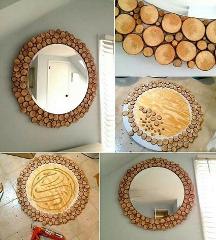 Espejo decorativo manualidades for Como hacer un espejo con marco de madera