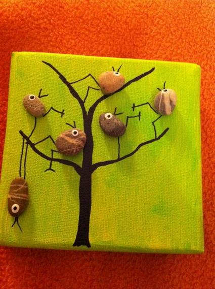 Dise os creados con piedras pintadas manualidades - Cuadros hechos con piedras de playa ...